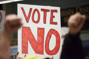 "A ""vote no"" sign is pictured during a Boeing union rally against the new contract put forth by Boeing in Seattle"